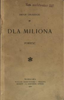 Dla miliona : powieść