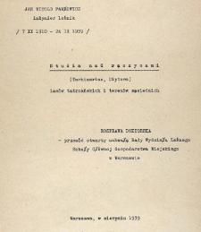 [Studia nad rączycami (Tachinariae, Diptera) lasów tatrzańskich i terenów sąsiednich]