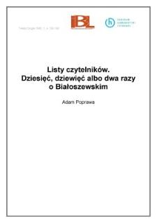 Listy czytelników. Dziesięć, dziewięć albo dwa razy o Białoszewskim