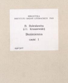 Bezimienna : powieść z końca XVIII w. [Cz. 1]