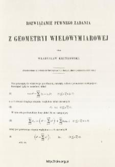 Rozwiązanie pewnego zadania z geometryi wielowymiarowej