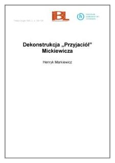 """Dekonstrukcja """"Przyjaciół"""" Mickiewicza"""
