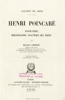 Henri Poincaré : biographie, bibliographie analytique des écrits