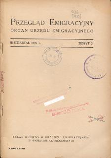 Przegląd Emigracyjny : organ Urzędu Emigracyjnego, 1927, z. 3