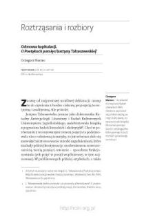 """Odmowa kapitulacji. O """"Poetykach pamięci"""" Justyny Tabaszewskiej"""