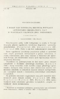 Z badań nad naturalną redukcją populacji Leptinotarsa decemlineata Say w warunkach polowych