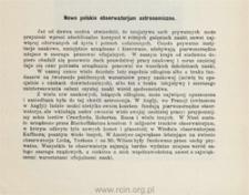 Nowe polskie obserwatorjum astronomiczne