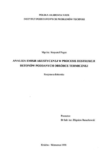 Analiza emisji akustycznej w procesie destrukcji betonów poddanych obróbce termicznej