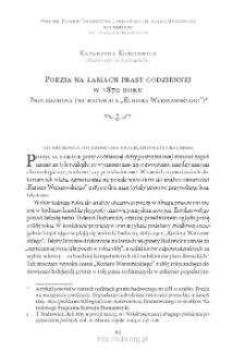 """Poezja na łamach prasy codziennej w 1870 roku. Prolegomena (na materiale """"Kuriera Warszawskiego"""")"""