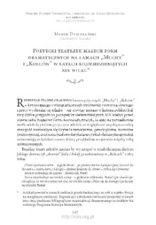 """Poetycki teatrzyk małych form dramatycznych na łamach """"Muchy"""" i """"Kolców"""" w latach siedemdziesiątych XIX wieku"""