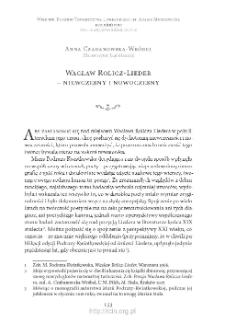 Wacław Rolicz-Lieder – niewczesny i nowoczesny