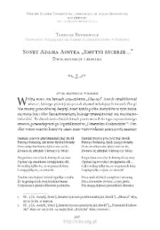 """Sonet Adama Asnyka """"Smutni rycerze…"""". Dwie redakcje i replika"""