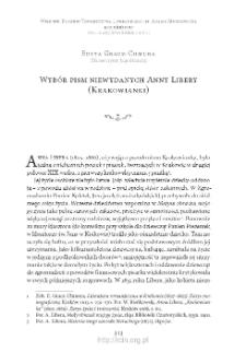 Wybór pism niewydanych Anny Libery (Krakowianki)