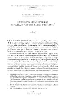 """Stanisława Stempowskiego notatka o poetach z """"jego pokolenia"""""""