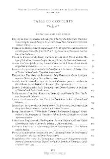 Wiek XIX, Rok X (LII) 2017, Table of contents