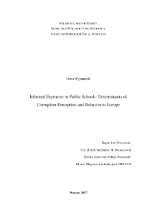 Informal Payments in Public Schools : Determinants of Corruption Perception and Behavior in Europe
