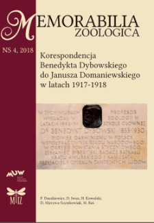 Korespondencja Benedykta Dybowskiego do Janusza Domaniewskiego w latach 1917–1918