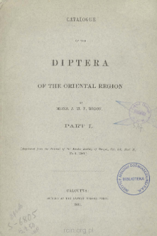 Catalogue of the Diptera of the Oriental Region. Part 1