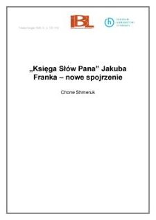 """""""Księga Słów Pana"""" Jakuba Franka - nowe spojrzenie"""