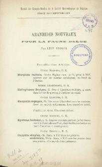 Aranéides nouveaux pour la faune Belge