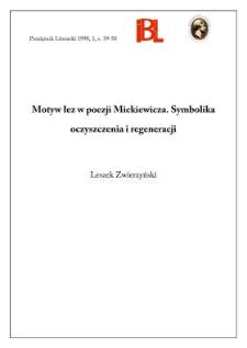 Motyw łez w poezji Mickiewicza : symbolika oczyszczenia i regeneracji