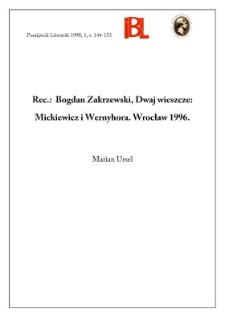 Bogdan Zakrzewski, Dwaj wieszcze : Mickiewicz i Wernyhora. Warszawa 1996