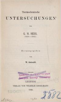 Thermochemische Untersuchungen