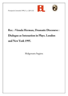 Vimala Herman, Dramatic Discourse : Dialogue as Interaction in Plays. London and New York 1995