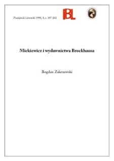 Mickiewicz i wydawnictwa Brockhausa