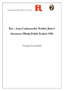 Anna Czabanowska-Wróbel, Baśń w literaturze Młodej Polski. Kraków 1996