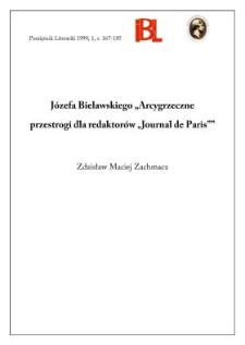 """Józefa Bielawskiego """"Arcygrzeczne przestrogi dla redaktorów """"Journal de Paris"""""""