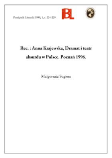 Anna Krajewska, Dramat i teatr absurdu w Polsce. Poznań 1996