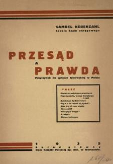Przesąd a prawda : przyczynek dla sprawy żydowskiej w Polsce