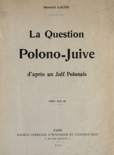 La question polono-juive d'après un Juif polonais