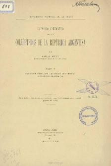 Catálogo sistemático de los Coleópteros de lá República Argentina. Familias Buprestidae, Trixagidae, Monommidae, Eucnemidae, Elateridae. Part 5