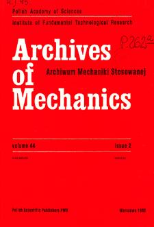 Archives of Mechanics Vol. 44 nr 2 (1992)
