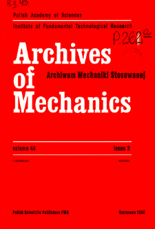 Archives of Mechanics Vol. 44 nr 3 (1992)
