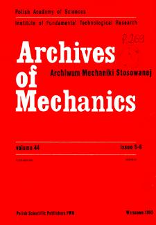 Archives of Mechanics Vol. 44 nr 5-6 (1992)
