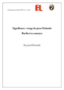 Signifiance : wstęp do pism Rolanda Barthes'a o muzyce