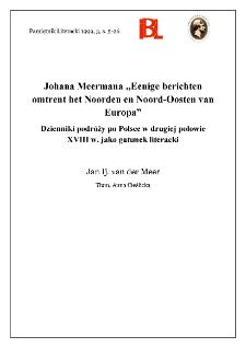 """Johana Meermana """"Eenige berichten omtrent het Noorden en Noord-Oosten van Europa"""" : dzienniki podróży po Polsce w drugiej połowie XVIII w. jako gatunek literacki"""