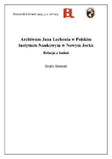 Archiwum Jana Lechonia w Polskim Instytucie Naukowym w Nowym Jorku : relacja z badań