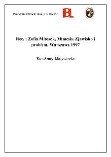 Zofia Mitosek, Mimesis : zjawisko i problem. Indeks osób oprac. Barbara Gomulicka. Warszawa 1997