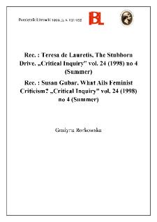 """Teresa de Lauretis, The Stubborn Drive. """"Critical Inquiry"""" vol. 24 (1998), no 4 (Summer)"""
