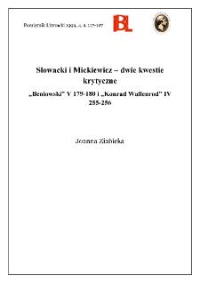 """Słowacki i Mickiewicz - dwie kwestie krytyczne : """"Beniowski"""" V 179-180 i """"Konrad Wallenrod"""" IV 255-256"""