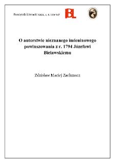 O autorstwie nieznanego imieninowego powinszowania z r. 1794 Józefowi Bielawskiemu