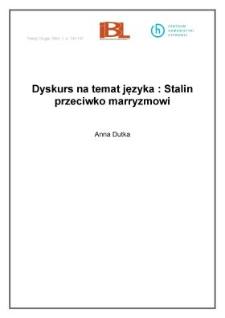 Dyskurs na temat języka: Stalin przeciwko marryzmowi
