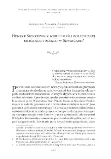 Henryk Sienkiewicz wobec myśli politycznej emigracji polskiej w Szwajcarii