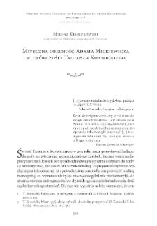 Mityczna obecność Adama Mickiewicza w twórczościTadeusza Konwickiego