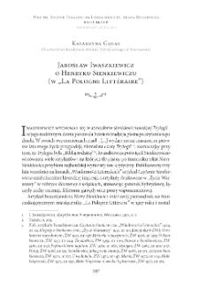 """Jarosław Iwaszkiewicz o Henryku Sienkiewiczu (w """"La Pologne Littéraire"""")"""