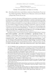 Adolf Dygasiński czytany od nowa. Rec.: Mirosława Radowska-Lisak, Między oralnością i literackością. Proza wiejska Adolfa Dygasińskiego,Toruń 2015